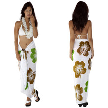Hawaiian Sarong in Khaki / Lime Green / White
