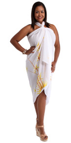 PLUS Sized Sarong Bamboo in White FRINGELESS