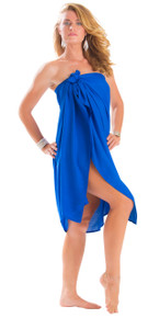 Plus Size Solid Colored Sarong in Blue