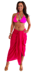 Plus Size Solid Colored Sarong in Hot Pink