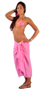 Solid Pink Sarong FRINGELESS