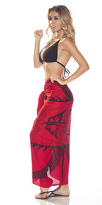Tattoo Sarong in Deep Red