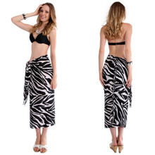 Zebra Pattern Sarong in Black / White