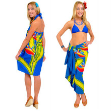 Blue Hand Painted Bird of Paradise High-End Pertama Sarong
