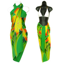 Green Hand Painted Orchid High-End Pertama Sarong