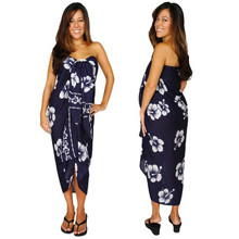 "Hibiscus Plus Size Sarong ""Navy Blue / White"""