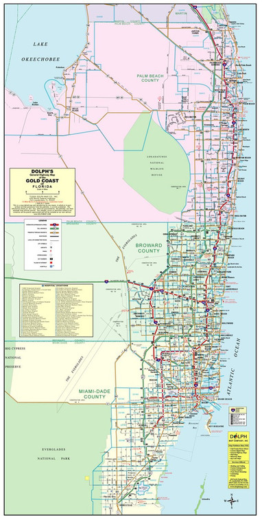 3 County Color Wall Map - Palm Beach, Broward, Miami/Dade