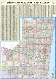 "Broward County, FL 42"" Wall Map Rail Mounted"