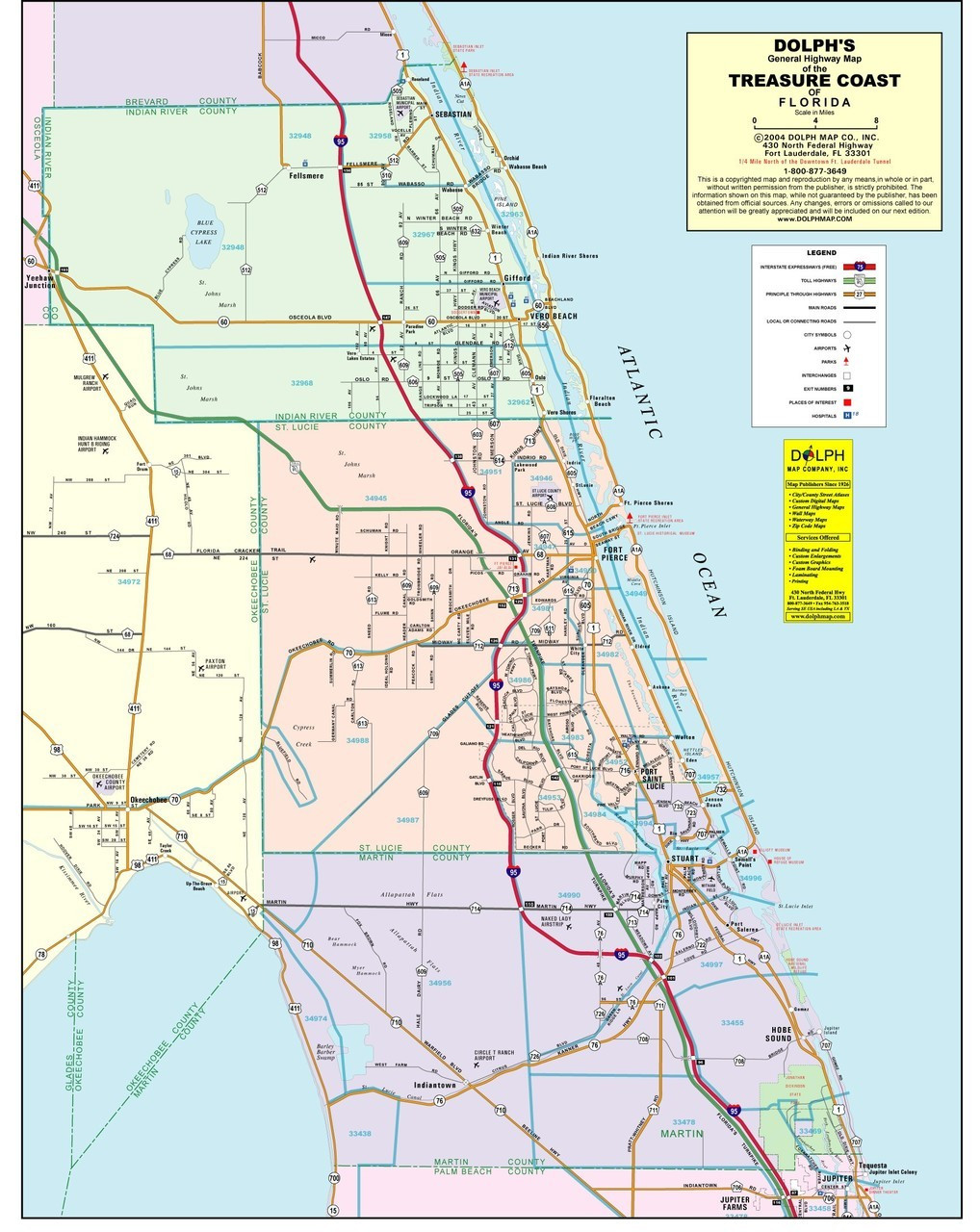 treasure coast zip code map 3 County Treasure Coast General Highway Color Without Zip Codes
