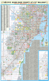 "Miami-Dade County, FL 42"" Wall Map Paper Only"