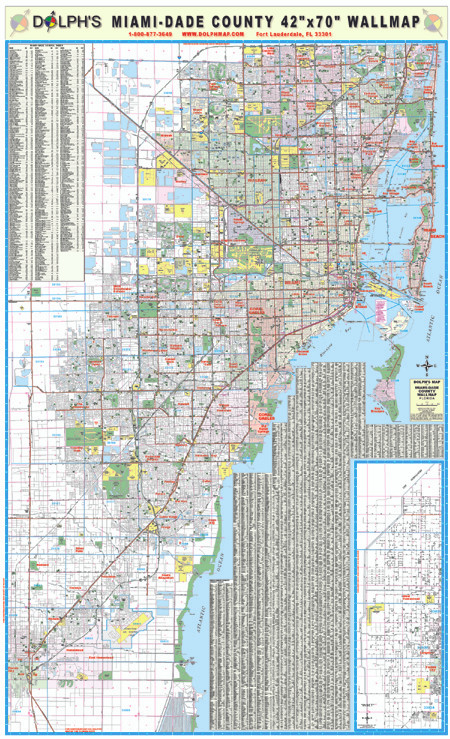 Miami Dade County Fl 42 Wall Map Paper Only Dolph Map Llc