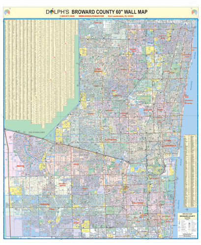 Map Of Broward County Florida.Broward County Fl 60 Wall Map Paper Only Dolph Map Llc