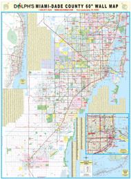 "Miami-Dade County, FL 60"" Wall Map"