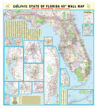 "Florida State 60"" Wall Map Rail Mounted"
