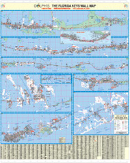 "Monroe County, FL (Florida Keys) 60"" Wall Map Rail Mounted"