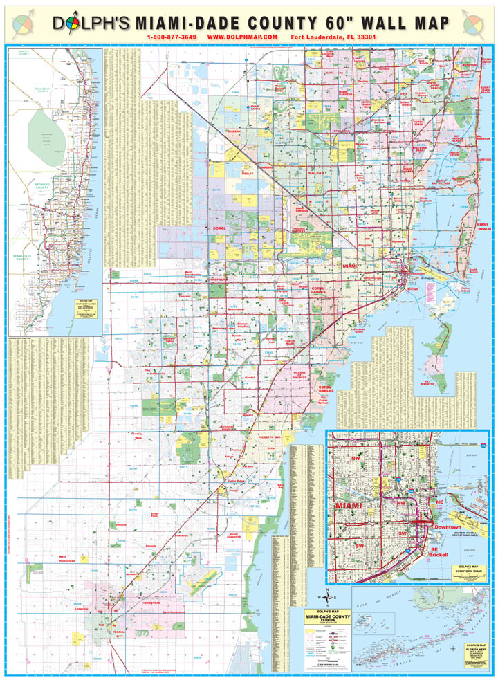 Miami Dade County Fl 60 Wall Map Rail Mounted Dolph Map Llc