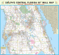 "Central Florida 60"" Wall Map Rail Mounted"