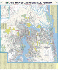 "Jacksonville, FL 60"" Wall Map Rail Mounted"