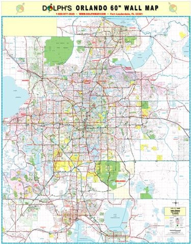 Orlando Fl 60 Wall Map Paper Only Dolph Map Llc