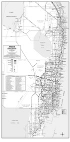 3 County (Dade, Broward, & Palm Beach) General Highway Black & White Wall Map With Zip Codes