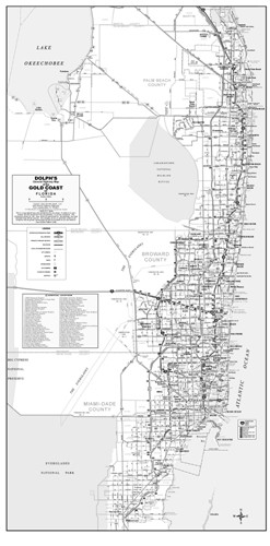 3 County Gold Coast General Highway B&W With Zip Codes
