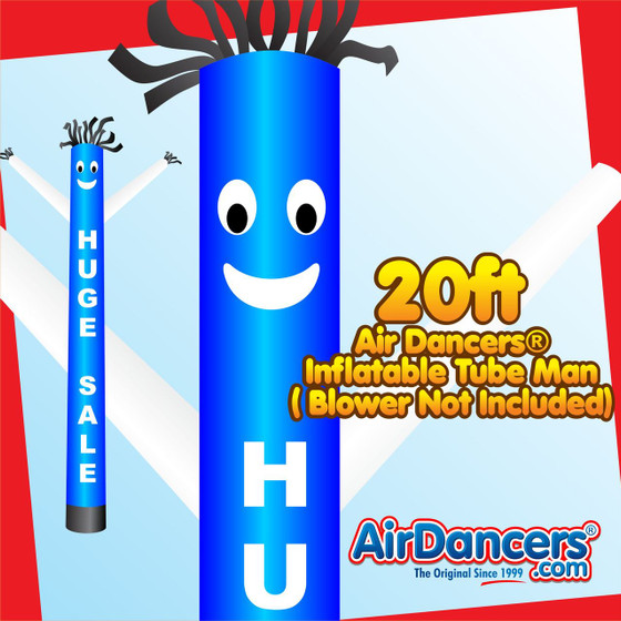 Blue and White Huge Sale 20ft Air Dancers® inflatable tube man by AirDancers.com