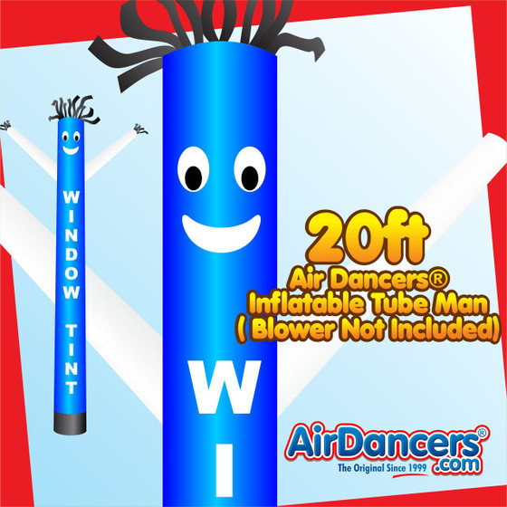 Blue White Window Tint Air Dancers® Inflatable Tube Man 20ft by AirDancers.com