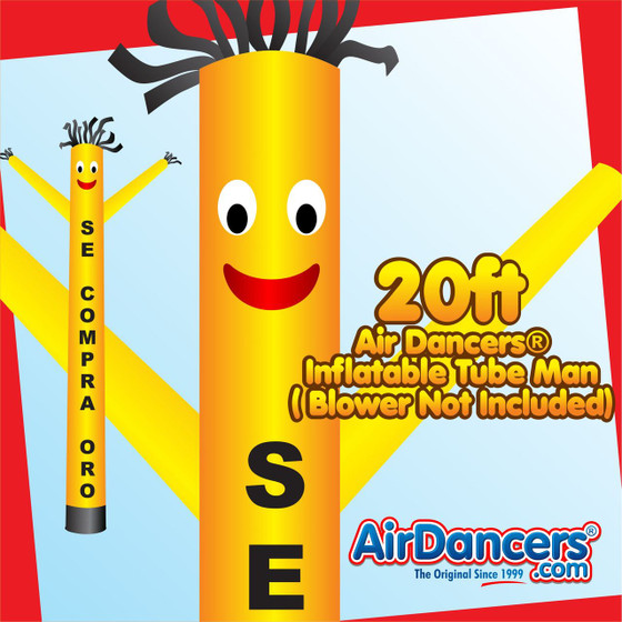 Yellow Se Compra Oro Air Dancers® Inflatable Tube Man 20ft by AirDancers.com