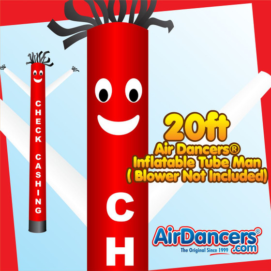 Red White Check Cashing Air Dancers® Inflatable Tube Man 20ft by AirDancers.com