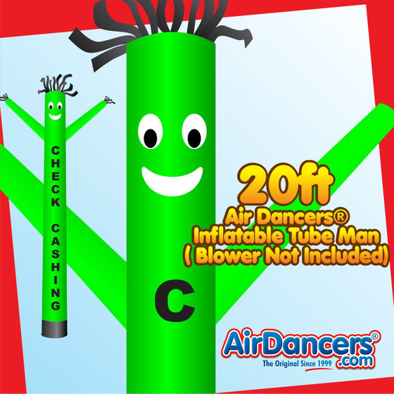 Green Check Cashing Air Dancers® Inflatable Tube Man 20ft by AirDancers.com