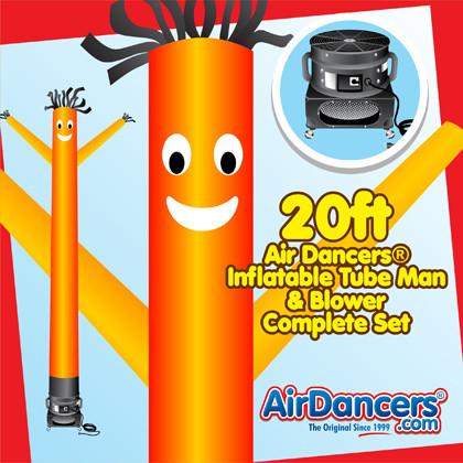 Orange Air Dancers® inflatable tube man & Blower Set 20ft