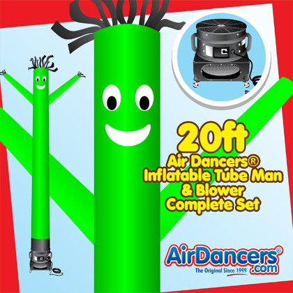Green Air Dancers® inflatable tube man & Blower Set 20ft
