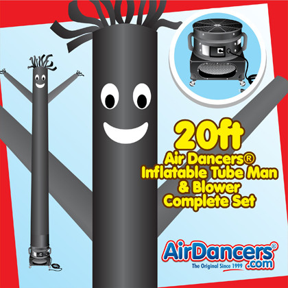 Black Air Dancers® inflatable tube man & Blower Set 20ft