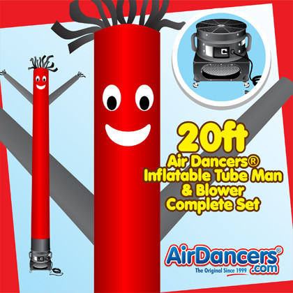 Red Black Air Dancers® inflatable tube man & Blower Set 20ft