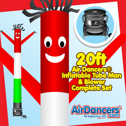 Red White Green Air Dancers® inflatable tube man & Blower Set 20ft