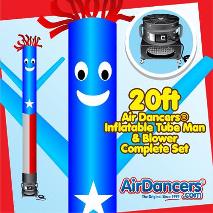Puerto Rico Flag Air Dancers® inflatable tube man & Blower Set 20ft