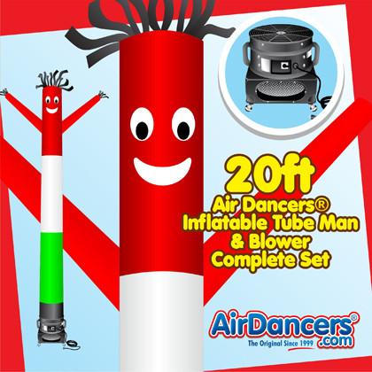 Italian Flag Air Dancers® inflatable tube man & Blower Set 20ft