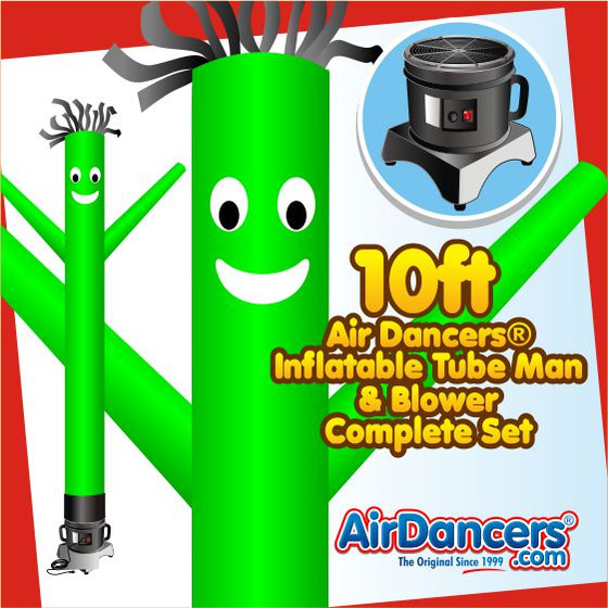 Green Air Dancers® Inflatable Tube Man & Blower 10ft Set by AirDancers.com