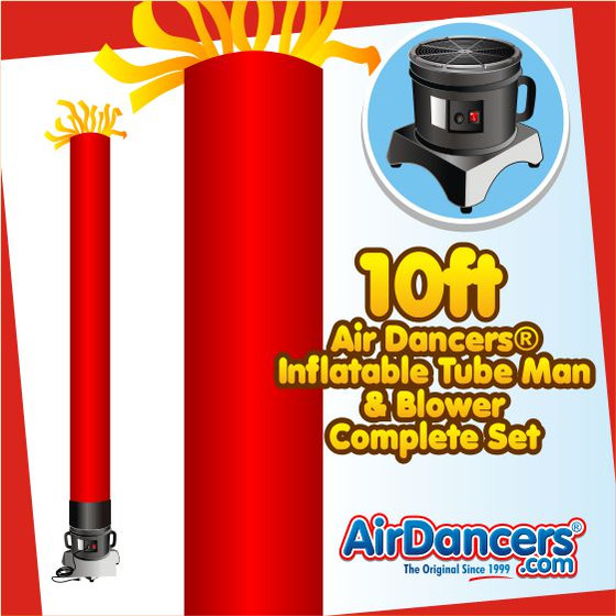 Red Tube Air Dancers® Inflatable Tube Man & Blower 10ft Set by AirDancers.com