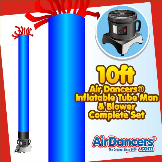 Blue Tube Air Dancers® Inflatable Tube Man & Blower 10ft Set by AirDancers.com
