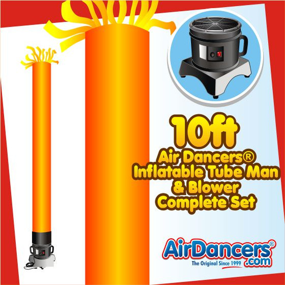 Orange Tube Air Dancers® Inflatable Tube Man & Blower 10ft Set by AirDancers.com