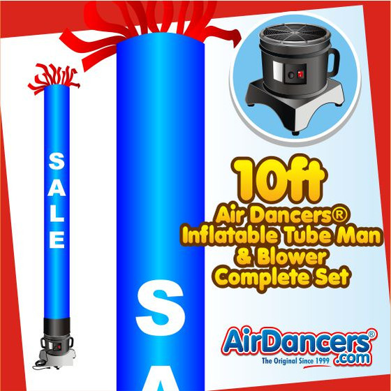 Blue Sale Tube Air Dancers® Inflatable Tube Man & Blower 10ft Set by AirDancers.com