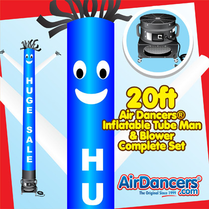 Blue White Huge Sale Air Dancers® inflatable tube man & Blower Set 20ft