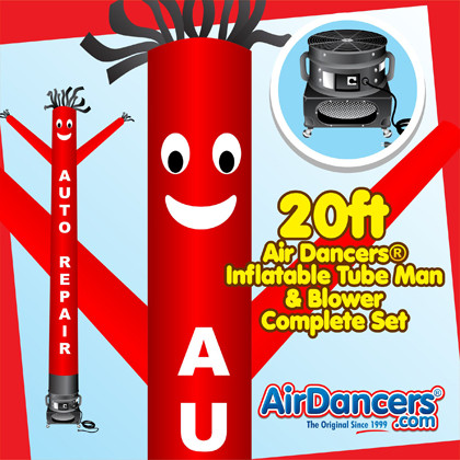 Red Auto Repair Air Dancers® inflatable tube man & Blower Set 20ft