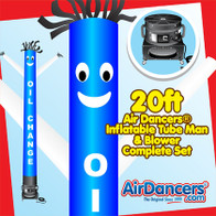 Blue White Oil Change Air Dancers® inflatable tube man & Blower Set 20ft