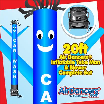 Blue Car Wash Air Dancers® inflatable tube man & Blower Set 20ft