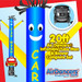 Blue Yellow Car Wash Car Shape Air Dancers® inflatable tube man & Blower Set 20ft