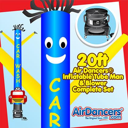 Blue Yellow Car Wash Car Shape Air Dancers® inflatable tube man & Blower Set 20ft