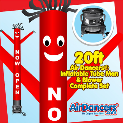 Red Now Open Air Dancers® inflatable tube man & Blower Set 20ft