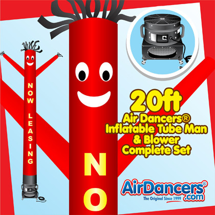 Red Yellow Now Leasing Air Dancers® inflatable tube man & Blower Set 20ft